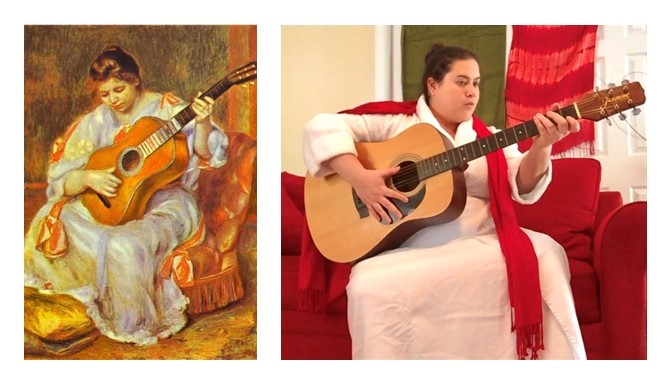 Left image: Pierre-Auguste Renoir's Woman Playing a Guitar, an impressionist painting showing a woman seated on a chair holding a guitar gazing down.   Right image: A photograph imitating the painting, showing a woman sitting on a couch holding a guitar.